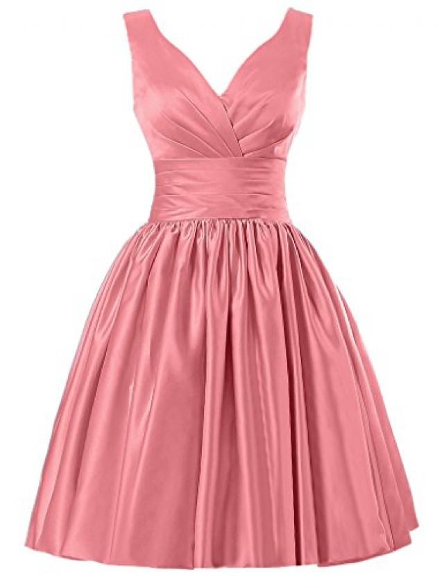 wedding photo - Short  Satin V Neck Ruched Bridesmaid Dresses