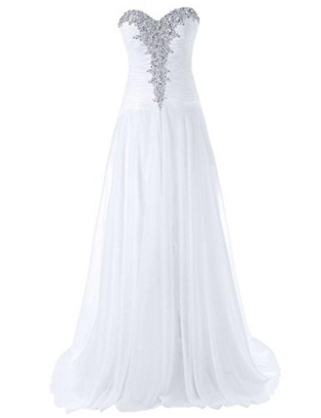 wedding photo - Sweetheart Chiffon Jeweled Wedding Dress