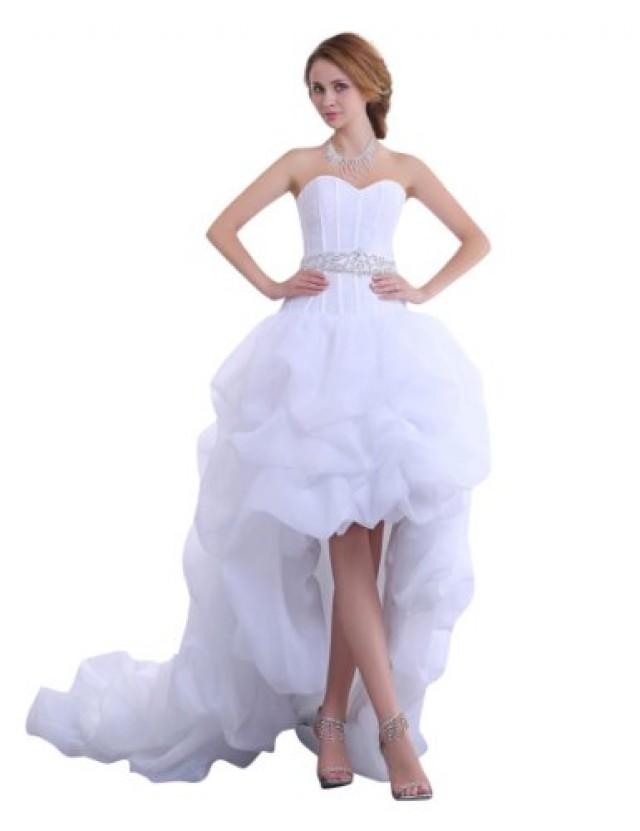 wedding photo - Chiffon Sweetheart Wedding Dress with Long Tail