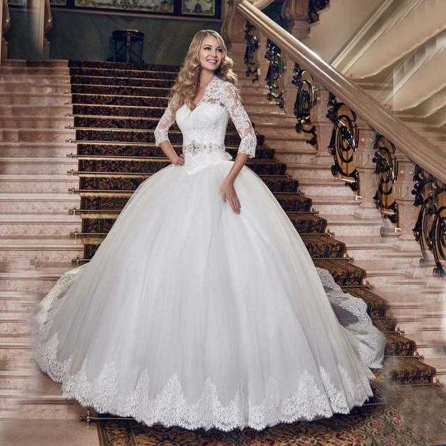 Buy ball gown vestido de casamento v neck for Where to buy a nice dress for a wedding
