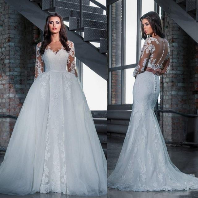 Fashion lace wedding dresses with detachable skirt 2016 for Princess mermaid wedding dresses