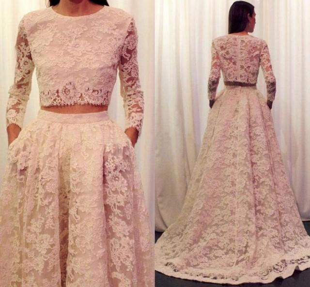 2016 lace wedding dresses long sleeve plus size wedding for Wedding dresses 2 piece