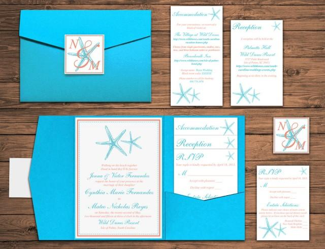 Turquoise And Coral Wedding Invitations: Beach Wedding Pocketfold Invitation Suite