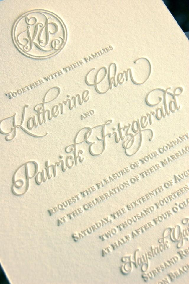 Monogram wedding invitations letterpress invitations for Letterpress wedding invitations manila philippines