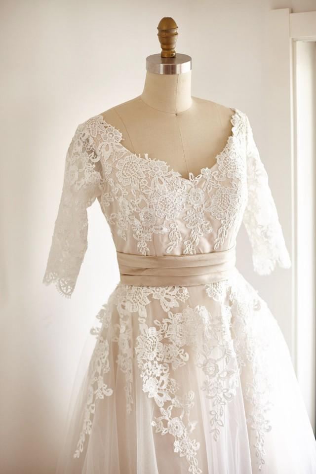 V back elbow quarter sleeves lace tulle tea short wedding for Champagne lace short wedding dress