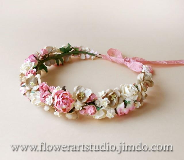 Bridal Flower Wreath For Hair : Pink floral crown rustic wedding wreath bridal flower