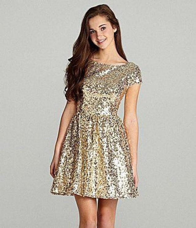 Full Sequin Short Boat Neck Bridesmaid Or Junior Dress With Short ...