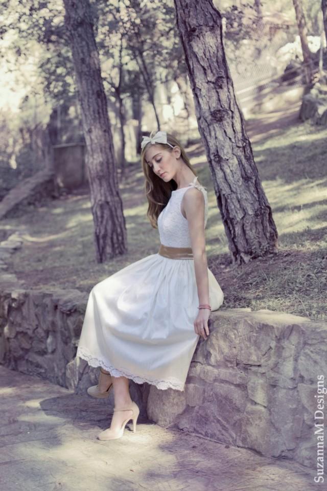 Ivory 50s wedding dress original 50s style bridal lace for Ivory tea length wedding dress
