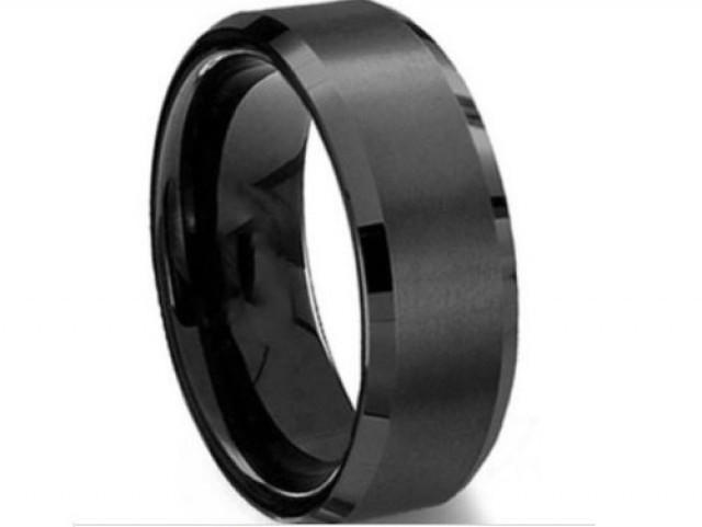 Men39s 8mm tungsten carbide black wedding band engagement for Mens gunmetal wedding rings