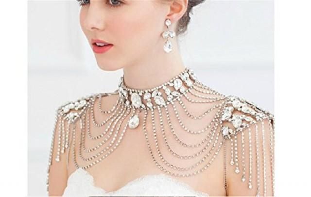 wedding photo - Bridal Crystal Silver Shoulder Body Chain Necklace