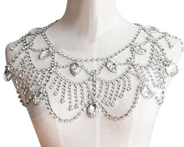 wedding photo - Wedding Silver Tone Clear Rhinestone Shoulder Deco Bib Necklace