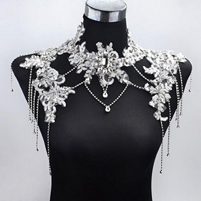 wedding photo - Wedding Crystal Rhinestone Tassel Lace Shoulder Chain Strap