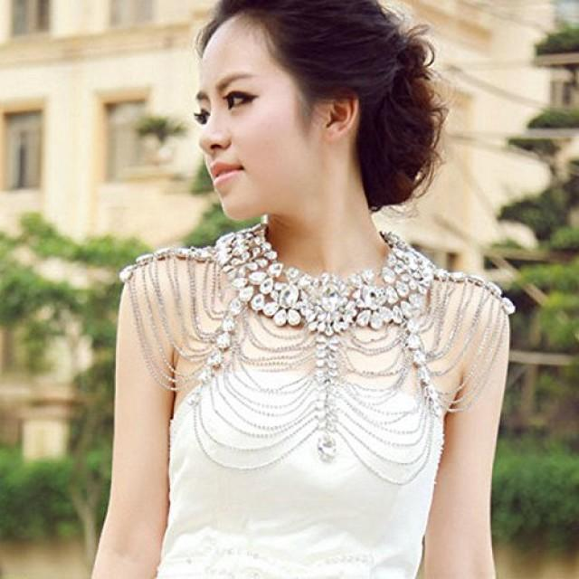 wedding photo - Bridal Silver Crystal Long Full Body Shoulder Chain Necklace