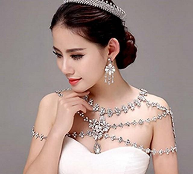 wedding photo - Crystal Rhinestone Bridal Shoulder Body Chain Necklace