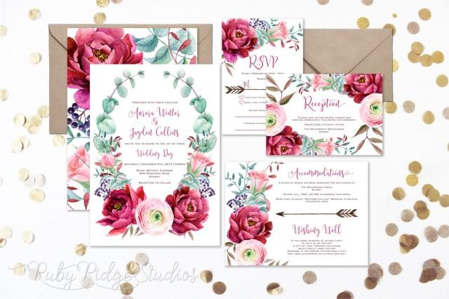 Burgundy Blush Watercolor Floral Wedding Invitation Peony
