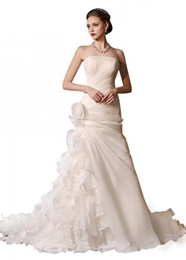 wedding photo - Organza Satin Strapless Neckline 2 In 1 Wedding Dress