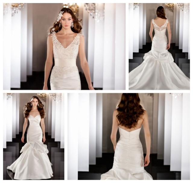 wedding photo - Elegent Fit Flare Lace Wedding Dress with Asymmetrical Ruched Bodice and Dropped Waist