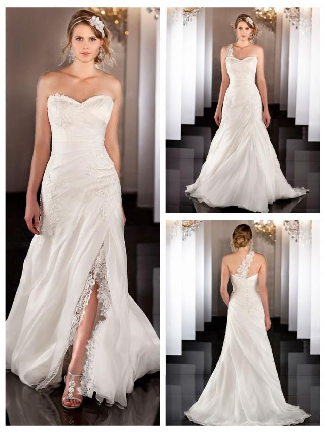 wedding photo - Silk Organza A-line Lace Apliques Ruched Wedding Dress with Detachable Skirt