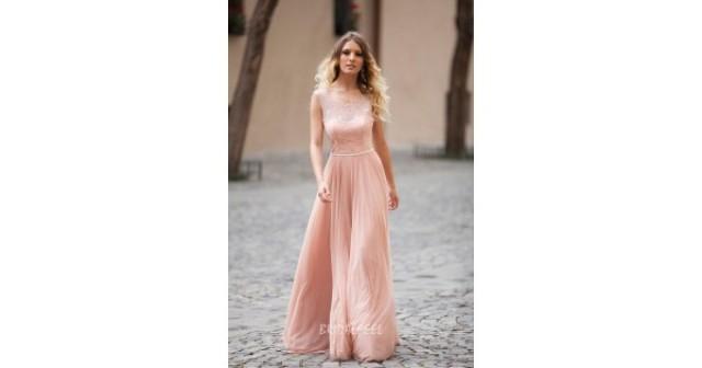 wedding photo - Illusion Blush Sleeveless A-line Long Evening Dress