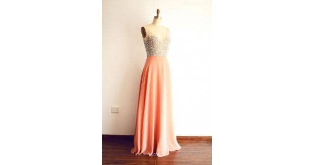 wedding photo - Illusion Beaded V-neck Peach Chiffon Evening Dress