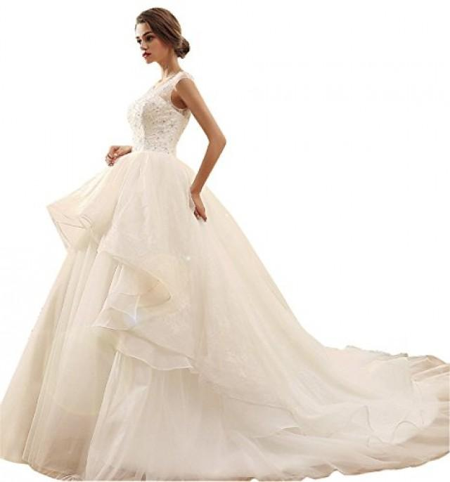 wedding photo - O-neck Sequins Wedding Dress with Detachable Tail Skirt