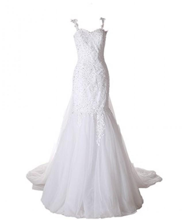 wedding photo - Elegant Detachable Train Beaded Lace Mermaid Wedding Dress