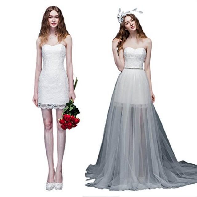 wedding photo - Sweetheart Beaded Bridal Wedding Dress with Detachable Train