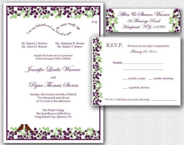 Wedding Invitation, RSVP Card & Return Address Labels - Template ...