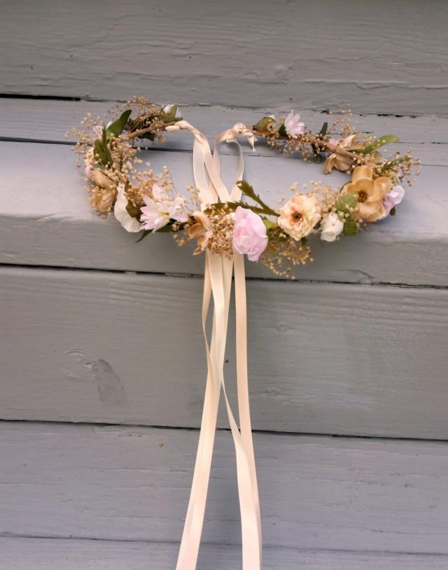 wedding photo - Champagne pink Blush flower crown Destination Wedding Bridal headpiece rose quartz dried hair wreath Accessories babys breath halo