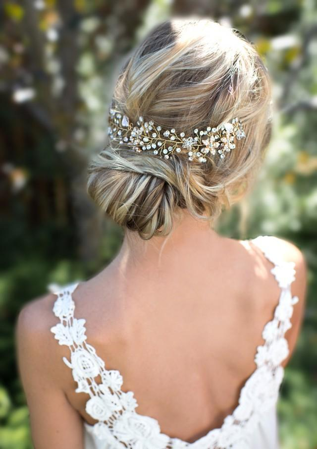 wedding photo - Boho Gold Halo Hair Vine, Flower Crown, Gold or Silver Wire Hair Wreath, Boho forehead band, Boho Wedding Headpiece - 'VIOLETTA'