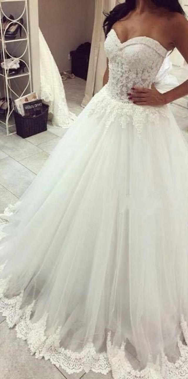 Lace Wedding Dress Buy : Lace beaded a line wedding dresses sweetheart
