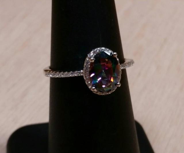 wedding photo - Mystic Topaz Ring Sterling Silver Gemstone