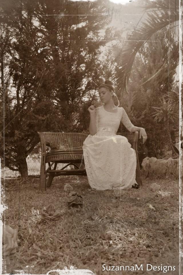 Long Sleeve 50s Wedding Dress : Long s wedding gown vintage dress sleeves