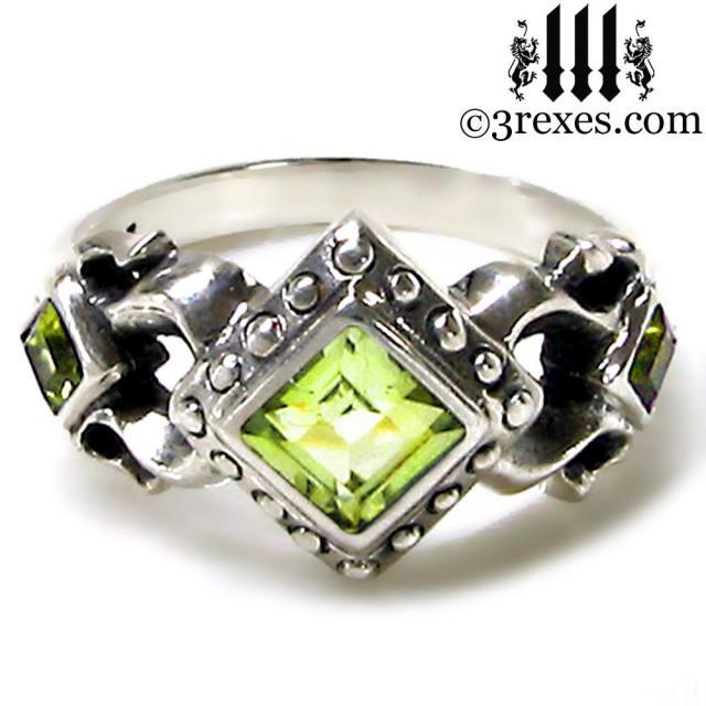 Wedding Photo Royal Princess Ring Green Peridot Stone Gothic Sterling Silver Band Size 8