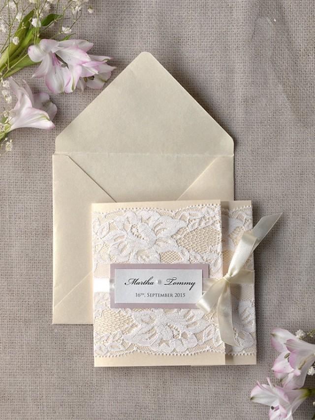 ivory lace wedding invitation pink wedding invitation