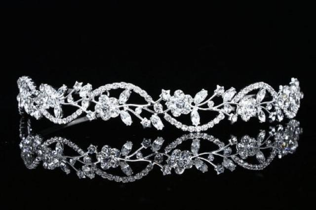wedding photo - Bridal Flower Rhinestones Crystal Wedding Headband Tiara