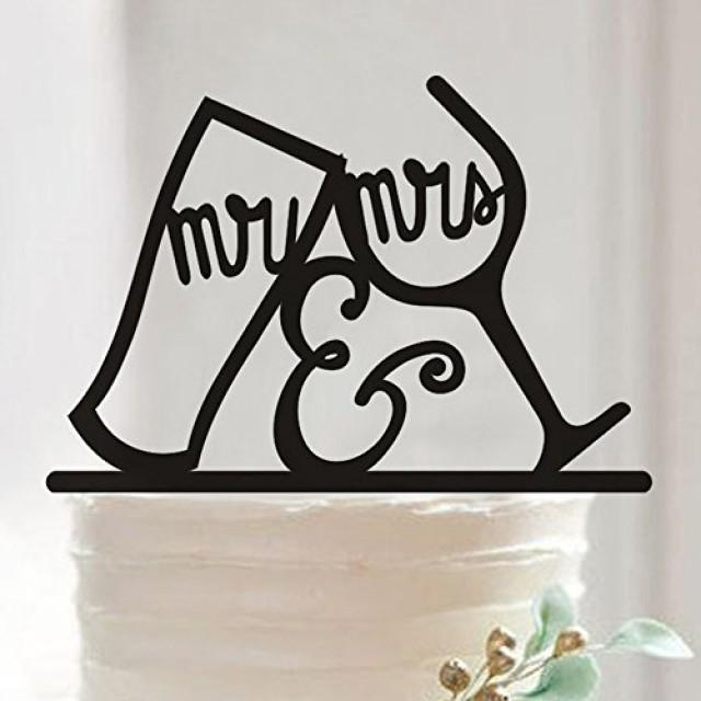 wedding photo - Mr and Mrs Wine Glass Cake Topper