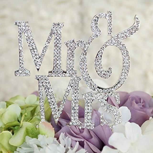 wedding photo - Mr & Mrs Monogram Silhouette Rhinestone Wedding Cake Topper