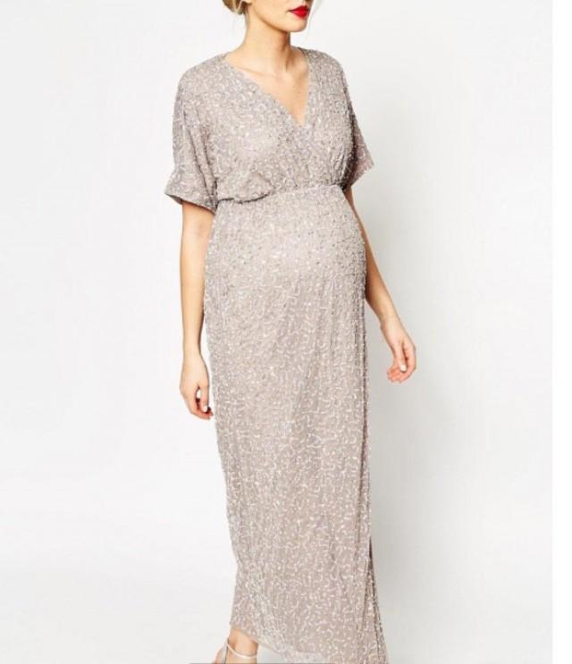 Custom Short Full Rose Gold Sequin Maternity Dress For