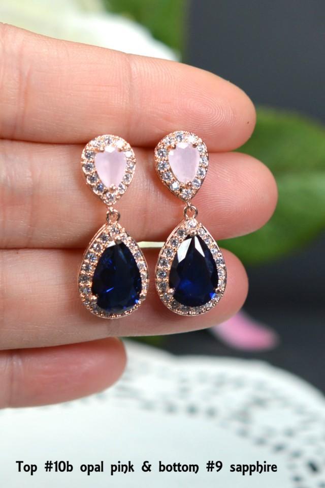 Blush Pink Navy Blue Rose Gold Wedding Jewelry Bridesmaid