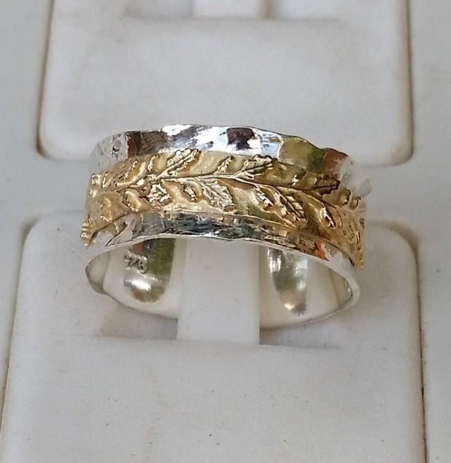 silver and gold wedding ring sterling silver 925 14k