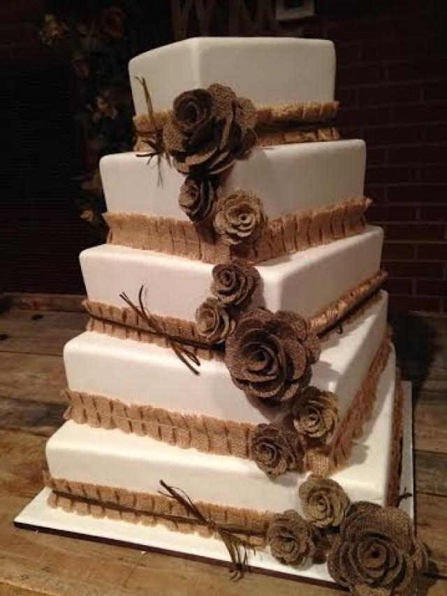 Vintage Cake Decoration Ideas : 13 Mix Size Burlap Flowers Cake Topper - Rustic Wedding ...