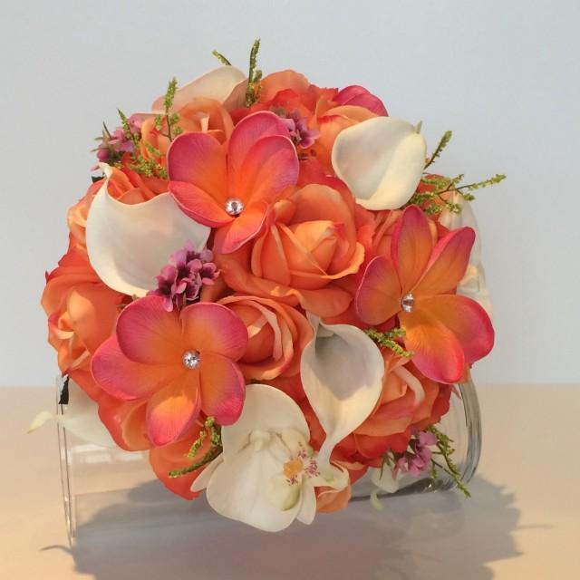 Coral And Pink Wedding Flowers: Coral Bouquet, Coral And Pink Bridal Bouquet, Coral Rose