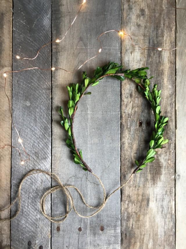 wedding photo - Boxwood crown, woodland crown, leaf wreath, woodland headpiece, natural crown, rustic wedding, leaf hairband, hair accessories