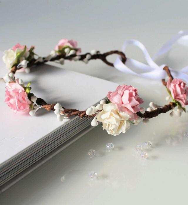 wedding photo - Pink Floral Crown, Pale Pink and White Rose Flower Crown, Flower girl flower crown, bridesmaid headpiece