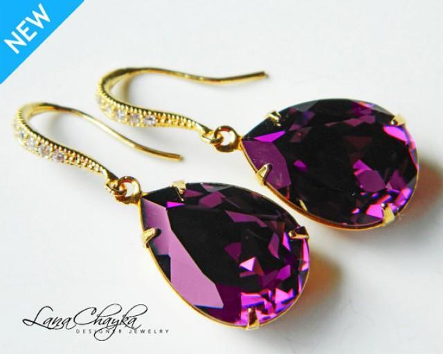 Amethyst Gold Crystal Earrings Swarovski Amethyst Purple