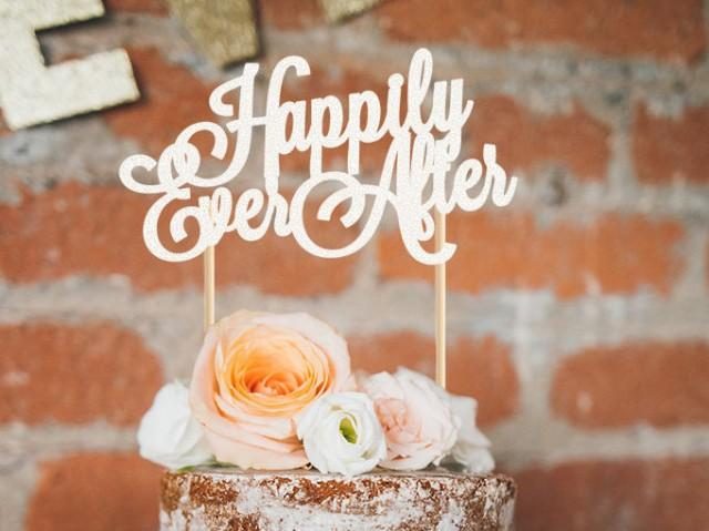 wedding photo - Happily Ever After cake topper