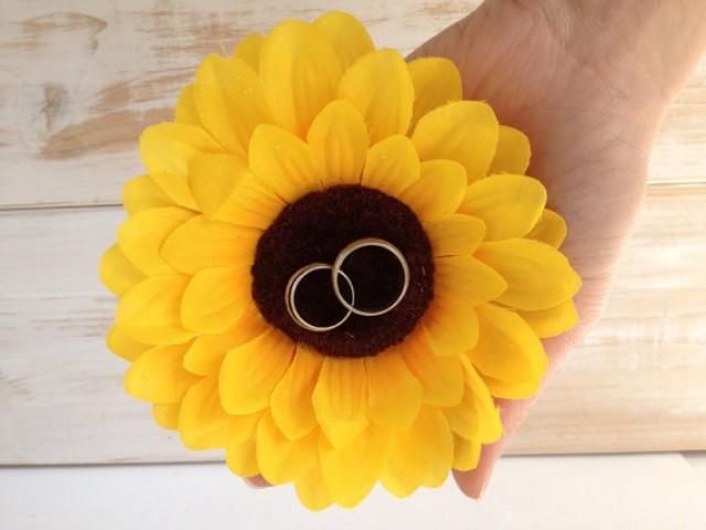 wedding photo - Sunflower Ring Pillow Alternative Ring Holder Ring Bearer Wedding Rings Rustic Wedding pillow