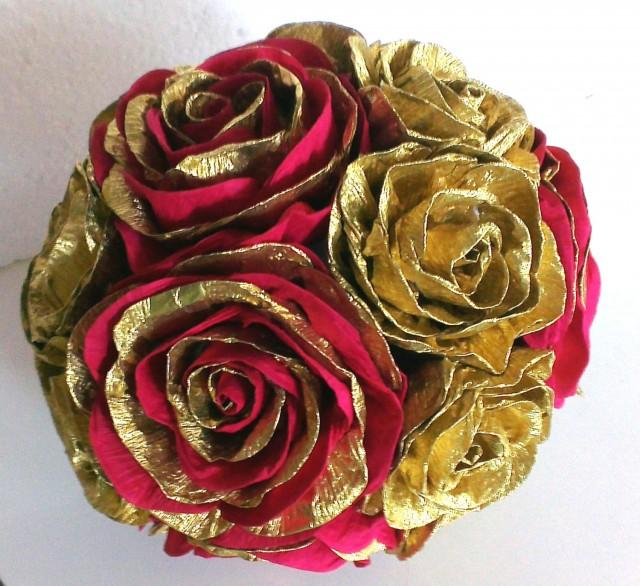gold royal red crepe paper flowers ball wedding decor
