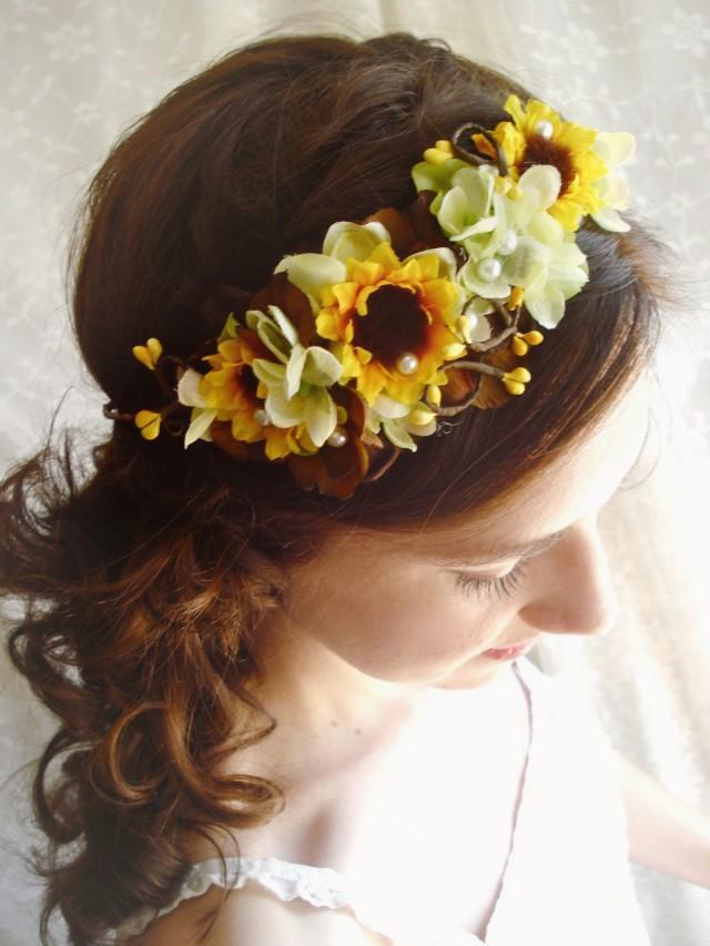 wedding photo - sunflower wedding, sunflower headband, sunflower headpiece, yellow flower crown, bridal headpiece, sunflower crown,  yellow floral crown